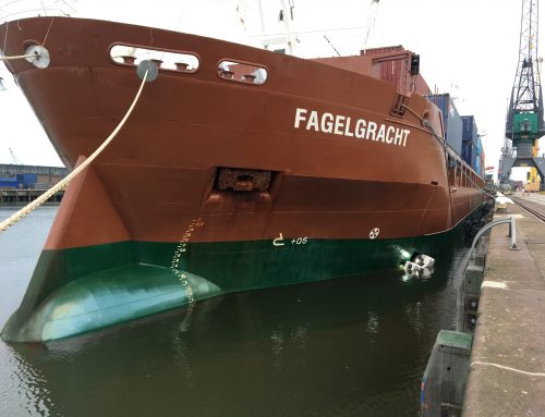 Spliethoff's mv Fagelgracht hull was cleaned by the Fleet Cleaner robot operating between the vessel and the quay